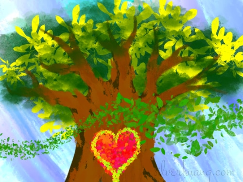 The Elder Tree, digital drawing by Silver Huang, featured in Gifts for an Emerging World article Earth Elders, featuring a large, old tree with rich, dark brown bark, a lush crown of greenish-yellow leaves, with a glowing heart of bright red emblazoned in the center of the trunk, limned with gold. A breeze blows small green leaves across the foreground, while the light blue sky in the background is streaked with white and azure.