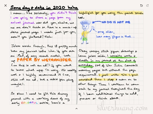 A fictional example of how a page in Silver's digital handwritten journal would look like, with handwritten text and sketched doodles in different brush types, sizes and colours.