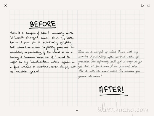 A sample of Silver's digital cursive handwriting, comparing her beginner's progress before and after a month of practice.