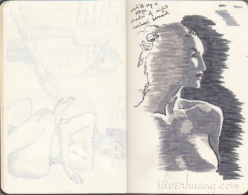Another scanned page from one of Silver's old sketching journals, featuring a brush pen practice sketch of Michael Bernard's photograph titled Shades of Night at 500px.com on the right page. On the left page, you can vaguely make out sketches of a bird and a woman showing through the back of the page.