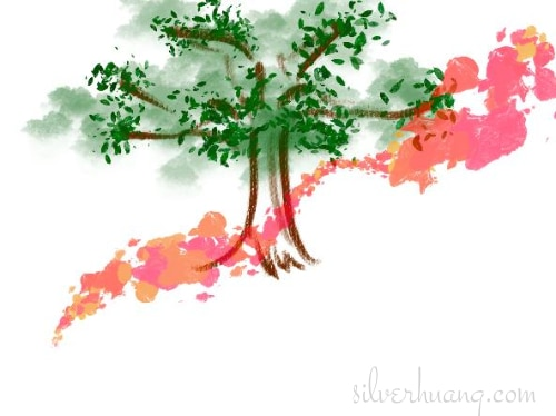 Another screenshot of a page from Silver's digital sketching journal, featuring a playful practice sketch of a tree, using a variety of Procreate brushes in brown and green, with a reddish-peach coloured flourish emblazoned across the front.