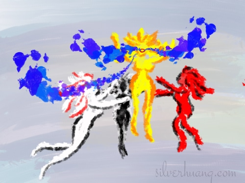 Another screenshot of a page from Silver's digital sketching journal, featuring a painting that Silver made for a friend. There are three goddesses of white, red, and black, suspended in the air, encircling a fourth goddess of golden yellow who has her mouth open and vibrant blue energies are flowing from her mouth.